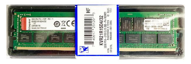 Pamięć RAM 1x 32GB Kingston ECC REGISTERED DDR4  2133MHz PC4-17000 RDIMM | KVR21R15D4/32