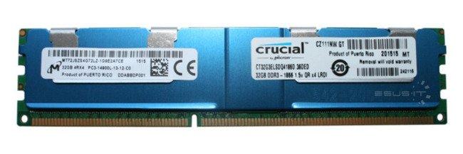 Pamięć RAM1x 32GBMicronECC LOAD REDUCEDDDR31866MHzPC3-14900LRDIMM|MT72JSZS4G72LZ-1G9