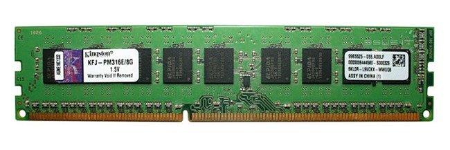 Pamięć RAM 1x 8GB Kingston ECC UNBUFFERED DDR3  1600MHz PC3-12800 UDIMM | KFJ-PM316E/8G